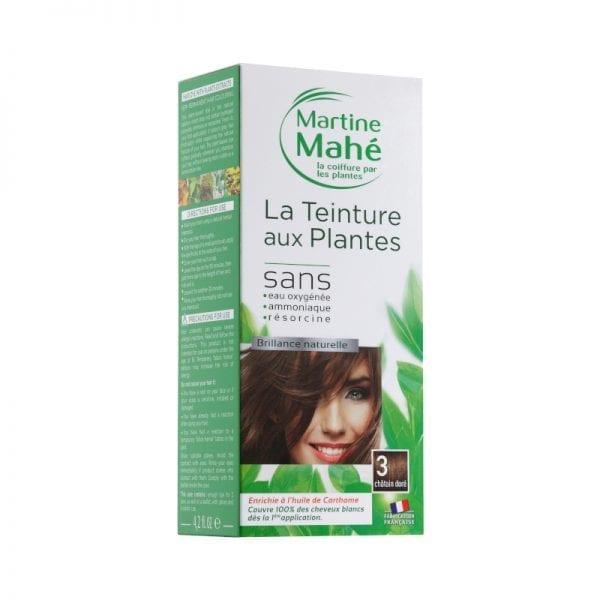 Teinture aux plantes Martine Mahé n°3 125ml garantie de couvrir 100% des cheveux blancs et sans eau oxygénée ni résorcine