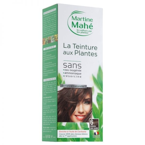 Teinture aux plantes Martine Mahé garantie de couvrir 100% des cheveux blancs et sans eau oxygénée ni résorcine